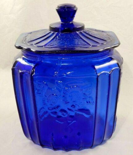 Cobalt Blue Glass Mayfair Open Rose Lidded Biscuit Jar 1970