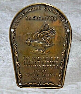 Warwickshire Cockfighting Association Brass Plaque - Dated April 1843