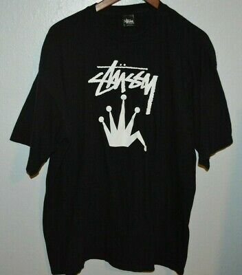 STUSSY black graphic jester crown t-shirt Mens XXL 2XL