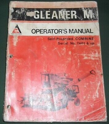 Allis Chalmers Gleaner M Combine Operation Maintenance Manual Book Sn 7401-up