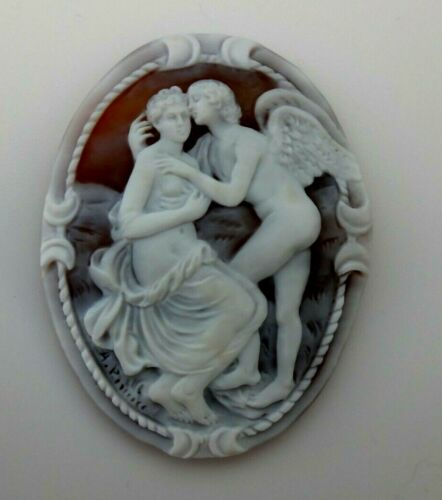 AMAZING  HANDMADE SHELL CAMEO  MUSEUM  QUALITY EROS AND PSICHE