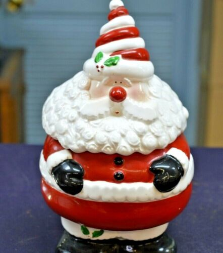"SANTA CLAUS CHRISTMAS CERAMIC 10"" COOKIE JAR"