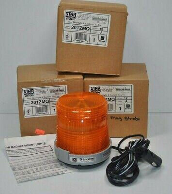Lot Of 3 New Star 201zmq Amber Orange Warning Strobe Beacon Light 12v Magnetic