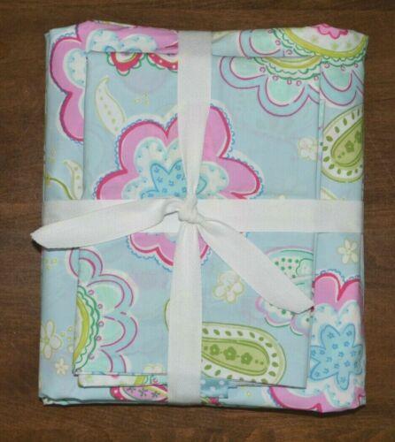 Pottery Barn Kids Samantha Twin Duvet Cover & Standard Sham Blue Pink Floral