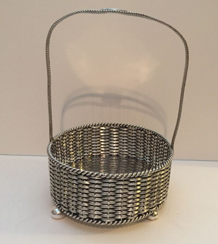 Antique Elkington & Co Silver Plate Woven Basket Footed