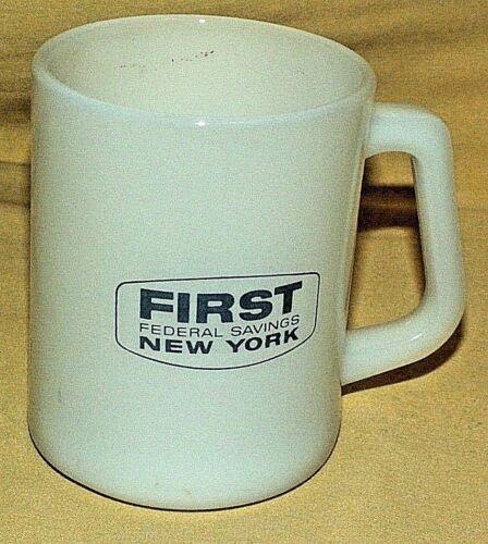 FIRST FEDERAL MUG SAVINGS BANK LOAN WHITE MILK GLASS FEDERAL CUP NEW YORK NY 4.