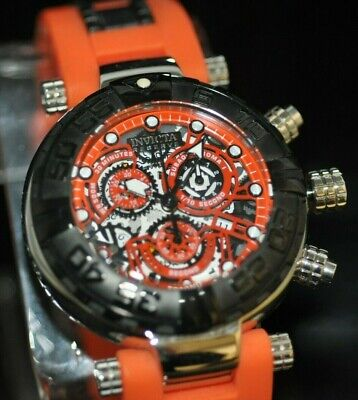 Mens Invicta Reserve Subaqua Noma 19590 Swiss Chrono Skeleton Orange Poly Watch