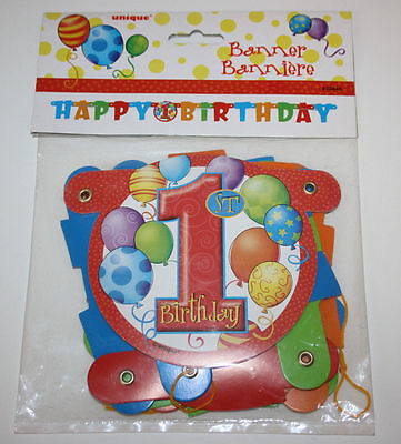 Unique Happy 1st Birthday Ballons Letter Banner Jointed Connected Multicolor (Happy 1st Birthday Banner)