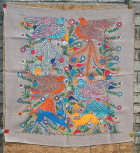 """vintage mid century modern wall hanging tapestry very colorful 38""""X36"""""""