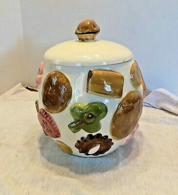 VINTAGE COOKIE JAR COOKIE ALL OVER WITH WALNUT LOS ANGELES POTTERIES