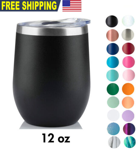 12oz Wine Tumbler Sip Lid Double Wall Stainless Steel Insulated wine glass