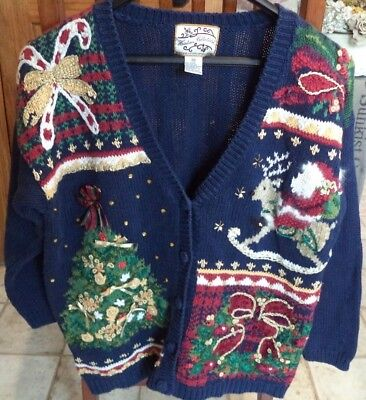 UGLY CHRISTMAS SWEATER Cardigan Womens Prize Winner Embelleshments Heirloom Med - Ugly Sweater Prizes