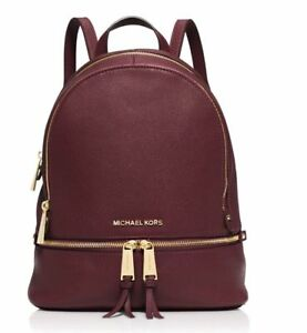 5336e7fa011b Michael Kors Rhea Leather Merlot Wine Red Backpack Medium 100 ...