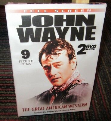 JOHN WAYNE: THE GREAT AMERICAN WESTERN 2-DISC DVD SET, 9 B&W FEATURE FILMS, GUC, used for sale  Windsor