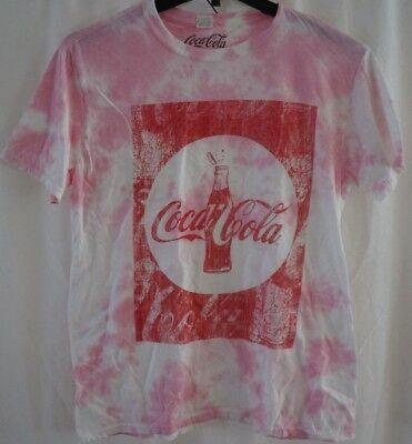 COCA COLA T-shirt Tie-Dye Coke Bottle Graphic Distress Pink Cotton Large NWT - Tie Dye Bottles