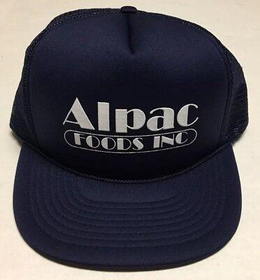 Vtg Alpac Foods Inc Trucker Hat Blue White Cap Incorporated 80s 1980s Rope Brim