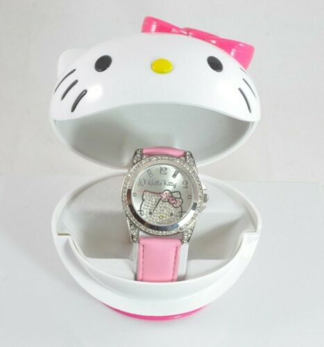 Hello Kitty Crystal Face Watch with Leather Strap