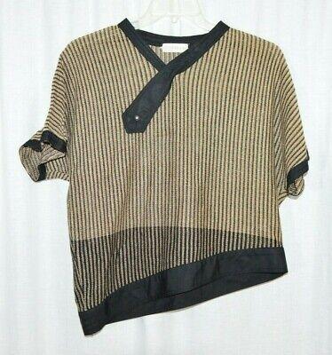 80s Sweatshirts, Sweaters, Vests | Women 1980s Gianni Versace Black Tan Asymmetrical Sweater Rhinestone Accents Medium $189.99 AT vintagedancer.com