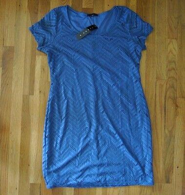 "NWT Womens TIANA B. Fitted ""Denim"" Blue Chevron Lace Dress Size XXL 2XL $98"