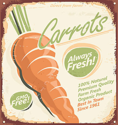 - DIRECT FROM FARM FRESH CARROTS   METAL TIN SIGN POSTER WALL PLAQUE