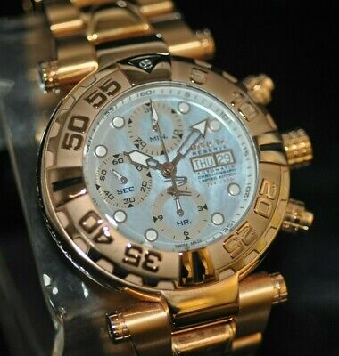 Mens Invicta Reserve Subaqua 13032 Swiss Chrono Valjoux 7750 Rosegold MOP Watch