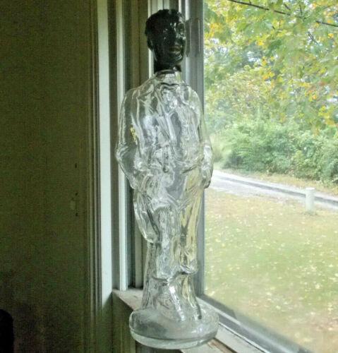 1890s NEGRO WAITER FIGURAL BOTTLE WITH ORIGINAL BLACKGLASS HEAD HAND BLOWN GLASS