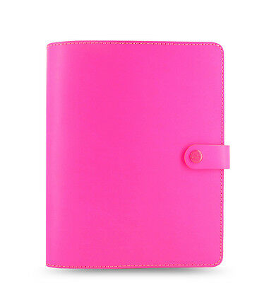 Filofax A5 Original Organiser Planner Notebook Fluoro Pink Leather 022439 J2