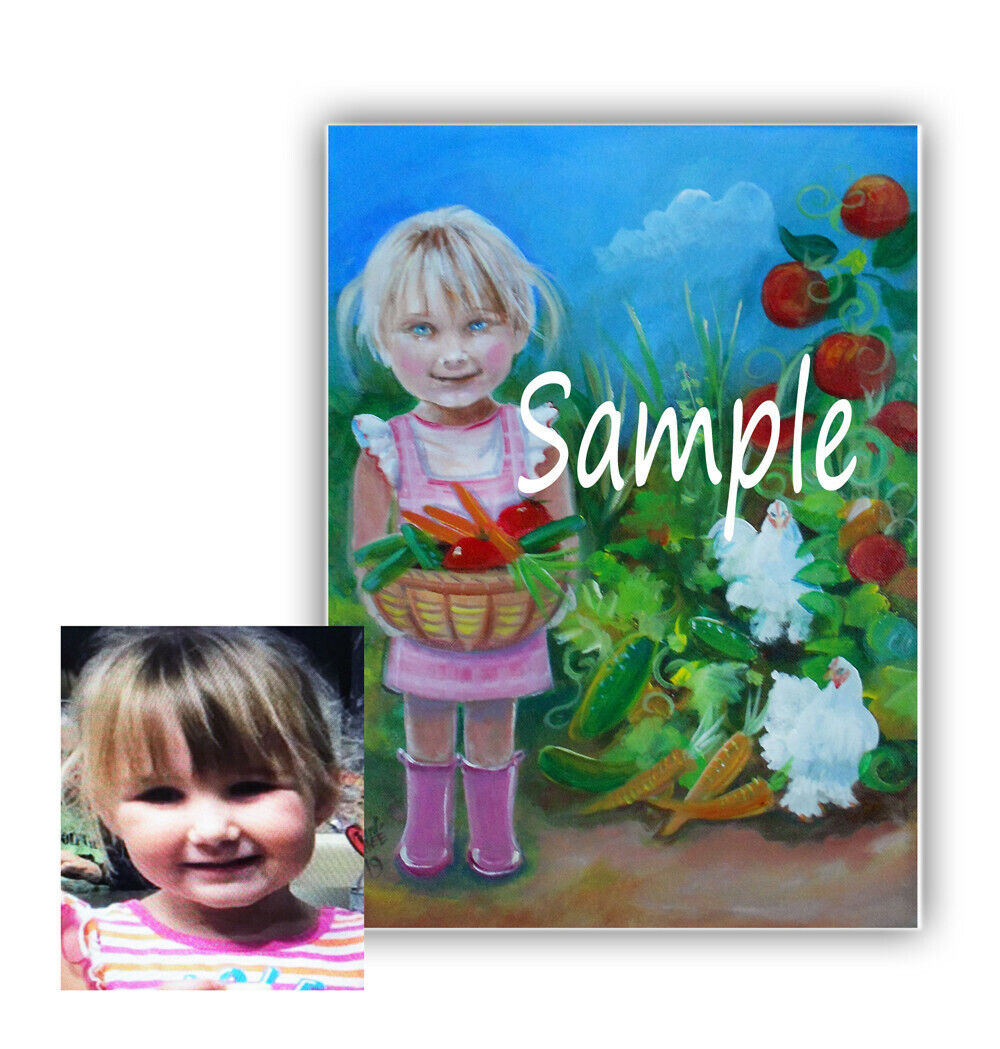 Mermaids, Fairy, Child s Portrait,from Your Photo ,Original Canvas Painting - $28.50
