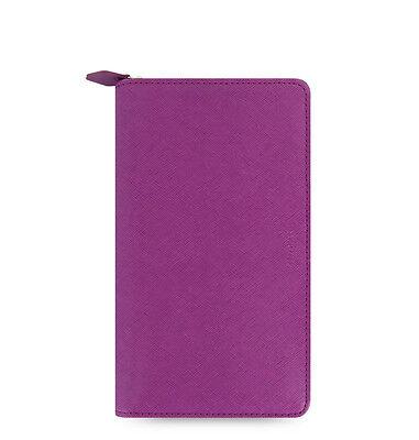 Filofax Saffiano Compact Zip Organiser Planner Diary Book Raspberry 022535