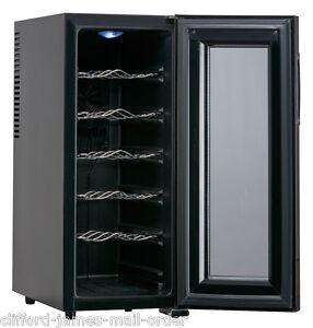 12 Bottle Wine Cellar Chiller Refrigerator Cooler | Black Mini Kitchen Fridge