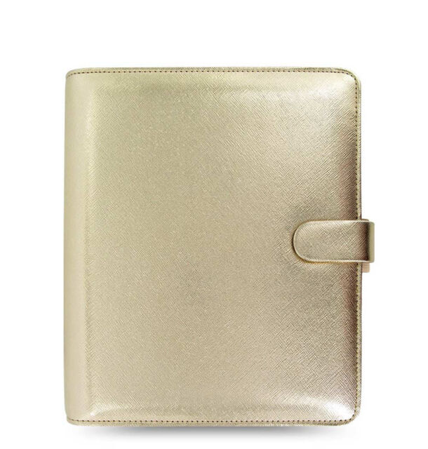 New Filofax A5 Size Saffiano Organiser Diary Planner Book Gold Leather - 022507