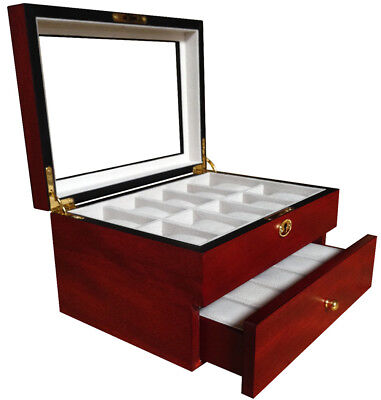 20 Wood Watch Display Jewelry Collector Case Gift Storage Box - Cherry 1672c
