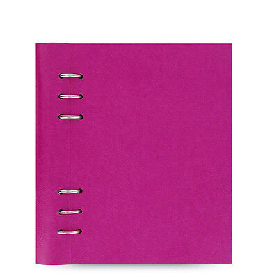 Filofax A5 Clipbook Leather-look Refillable Notebook Diary Book Fuchsia Rose Red