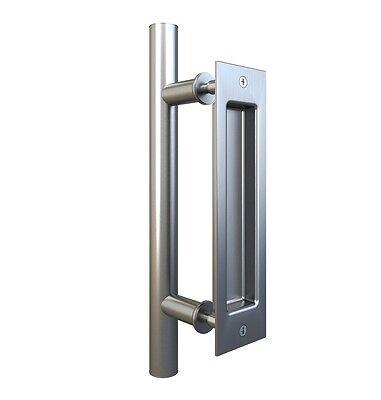 Stainless Steel Pull and Flush Handle Set for Sliding Barn Door (Flush Steel Door)