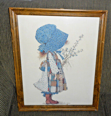 "Vintage HOLLY HOBBIE 18x22"" Wood Framed Picture NICE!"