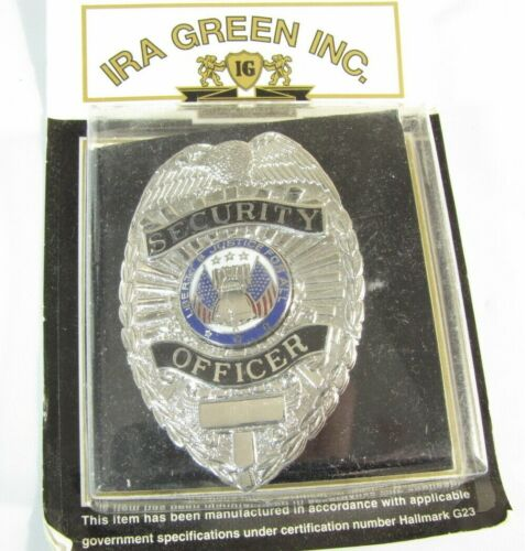 Obsolete New NOS Ira Green Silver Security Officer Badge Shield Bell Flags 3E4