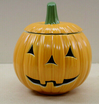 Vintage Ceramic Jack O Lantern Candle Holder Halloween Decor