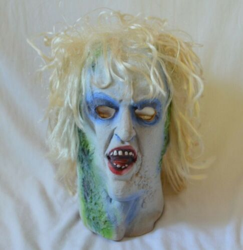 Vintage Beetlejuice Mask Latex Halloween Costume with Hair