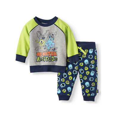 Monsters Inc Outfit (Disney baby Monsters Inc. Long Sleeve T-shirt and Jogger Pants 2pc Outfit Set)