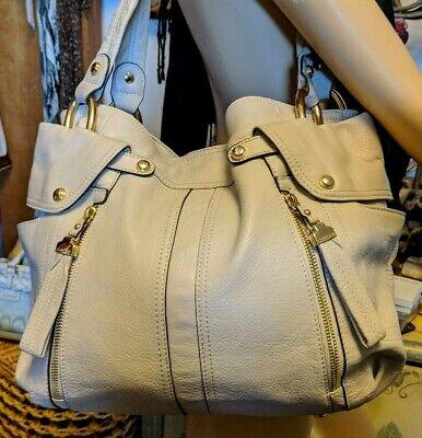 B Makowsky Large Shoulder Purse Handbag, Supple Leather, Dual Straps Taupe Beige
