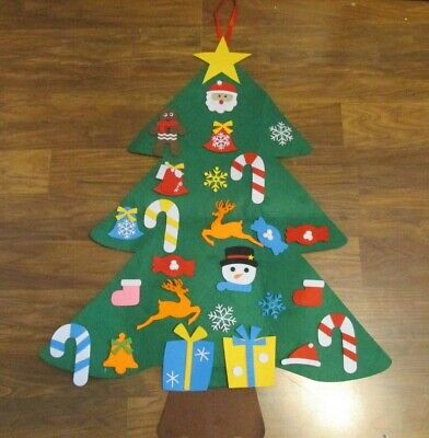 NEW 3 FT. KIDS DIY FELT CHRISTMAS TREE W/DETACHABLE ORNAMENTS WALL HANGING DECOR
