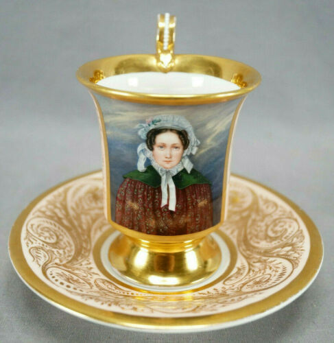 KPM Berlin Hand Painted Lady Portrait Pink & Gold Cup & Saucer Circa 1837-1844