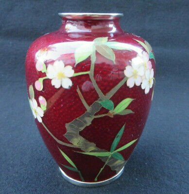 Vintage Small Japanese Cloisonne Pigeon Red Vase Pink Flowers 3.75