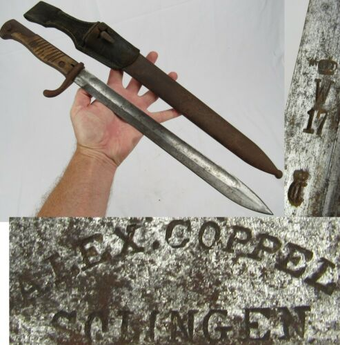 WW1 German M1898/05 Bayonet SCABBARD FROG! Gewher98 antique Alex Coppel Solingen