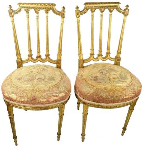 Louis XVI Antique Giltwood Carved Pair Boudoir Chairs Original Aubusson Fabric