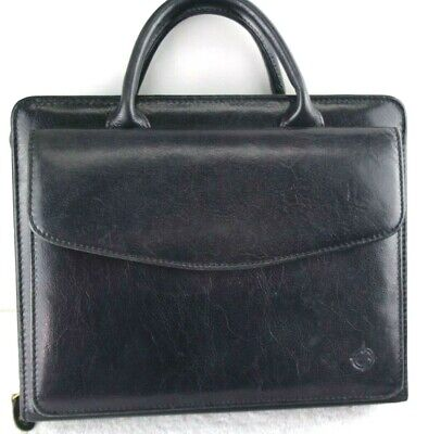 Franklin Covey Classic Black Full Grain Leather 21650.119 Planner Handles Zipper