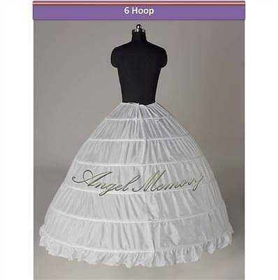 6-HOOP/3-hoop wedding gown crinoline petticoat skirt slip - White Petticoat Skirt