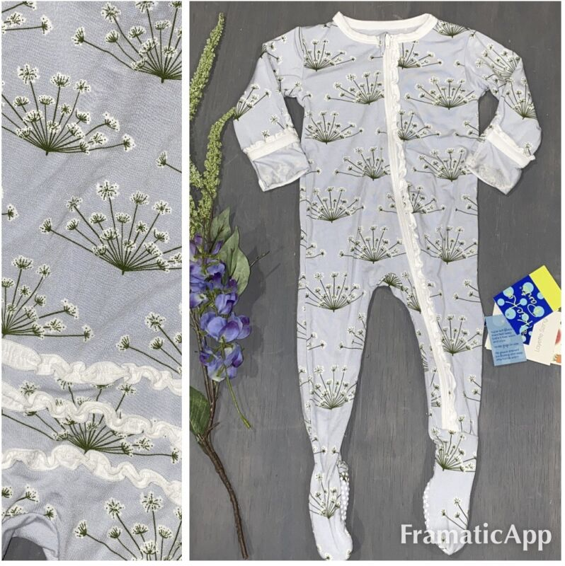 Kickee Pants Girl Bamboo Floral Dew Dill Romper 6-9m Layette NWT Ruffle Zip ❤️
