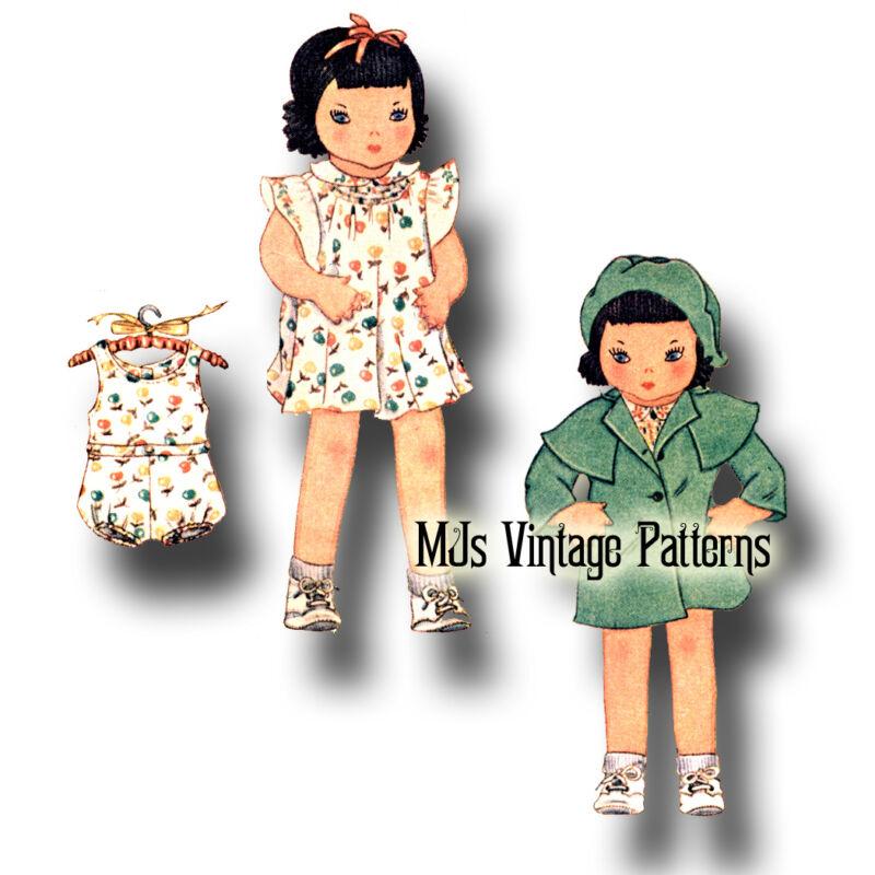 Vintage Pattern ~ Girl Doll ~ Classic 1930s Dress