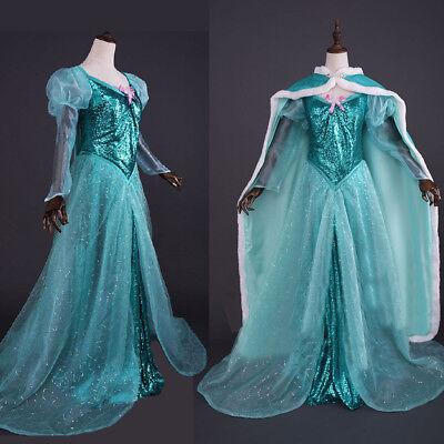 Ariel Cosplay Dress (The Little Mermaid Ariel Adult Costume Green Sequins Cosplay Dress Ball)